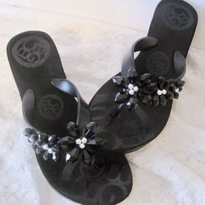 Black Wedge Sandals with Flowers